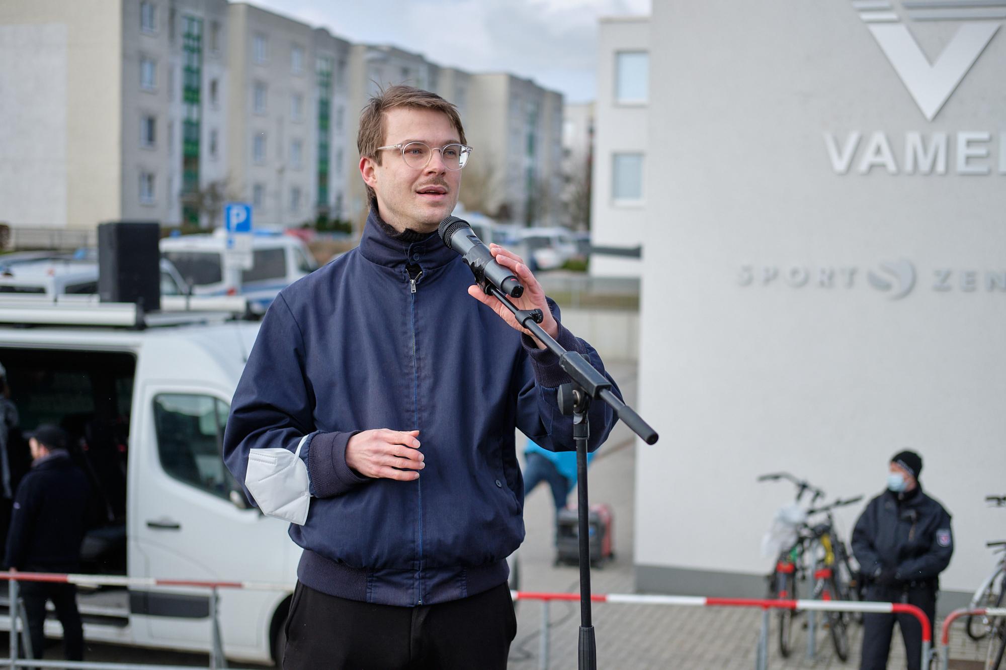 Stefan Kunath auf der Kundgebung